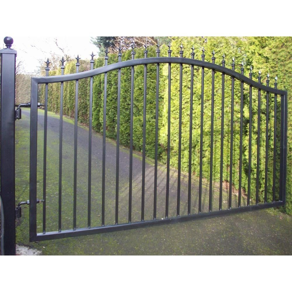 Mighty Mule St Augustine 12 Ft W X 5 Ft H Powder Coated Steel Single Driveway Fence Gate G1512 Kit The Home Depot Driveway Gate Diy Metal Driveway Gates Driveway Gate