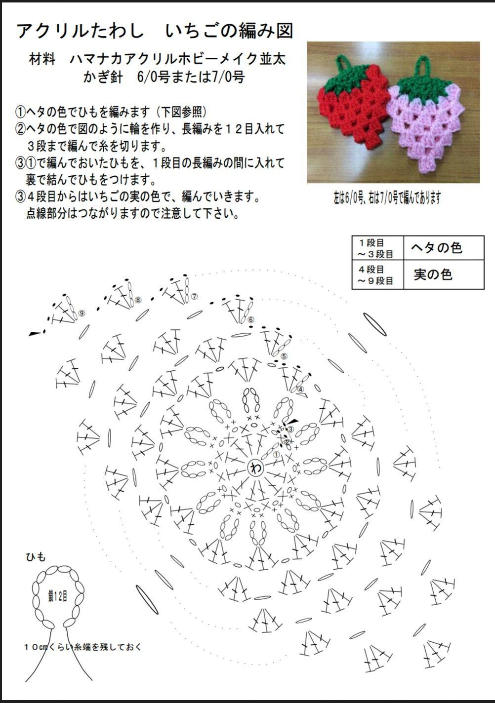 アクリル たわし いちご 編み 図