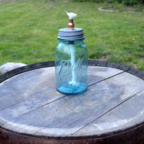 Vintage Ball Mason Jar Tabletop Tiki Torch