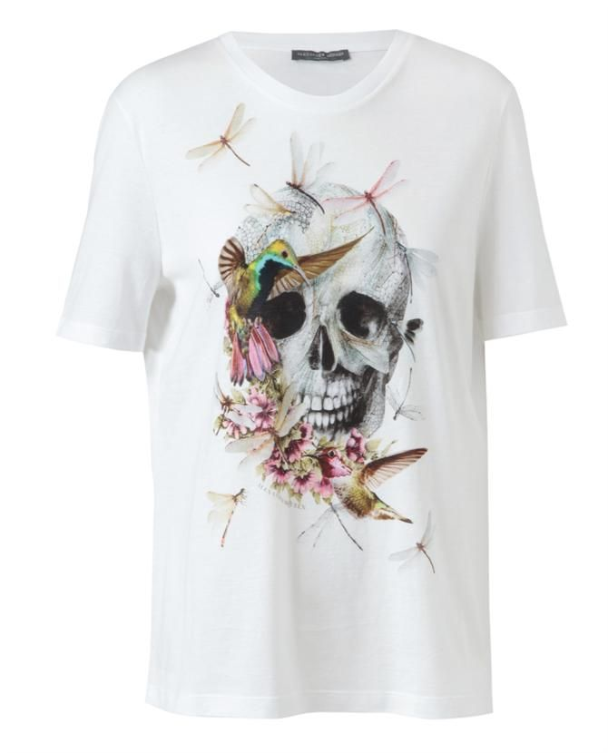 Floral Skull Motif Cotton T-Shirt by ALEXANDER MCQUEEN at Browns Fashion  for £220.00