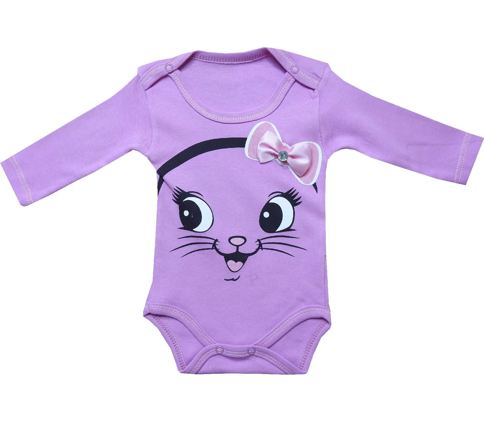 4616 wholesale cat face printed bodysuit for gilr baby clothes 3 6