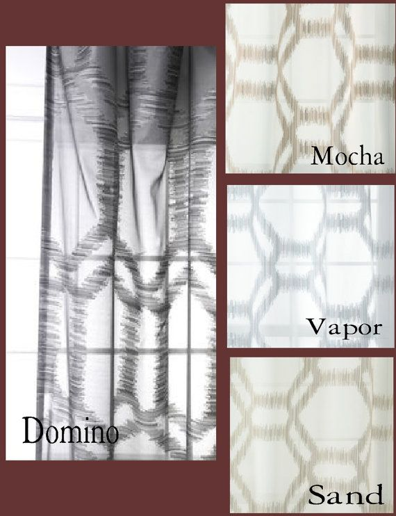 Custom Modern Ikat Sheer Drapes by avecdieu on Etsy