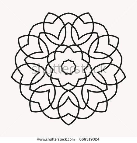 Simple Mandala Shape For Coloring Vector Mandala Floral Flower Oriental Book Page Outline Vektorgrafik Mandalas Einfaches Mandala