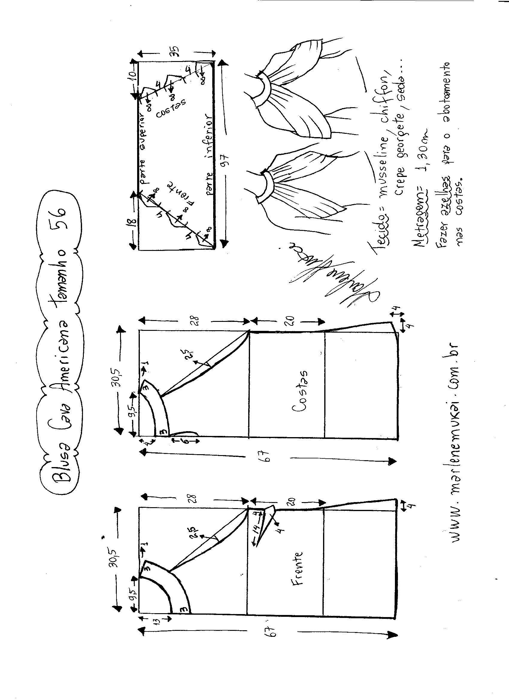 Blusa de sisa americana con drapeado | PATRONAJE | Pinterest ...