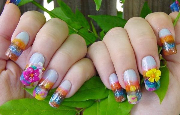 Diseños de uñas tropicales con color, Diseño de uñas tropicales acrilicas.   #uñas #acrylicnails #uñasdemoda