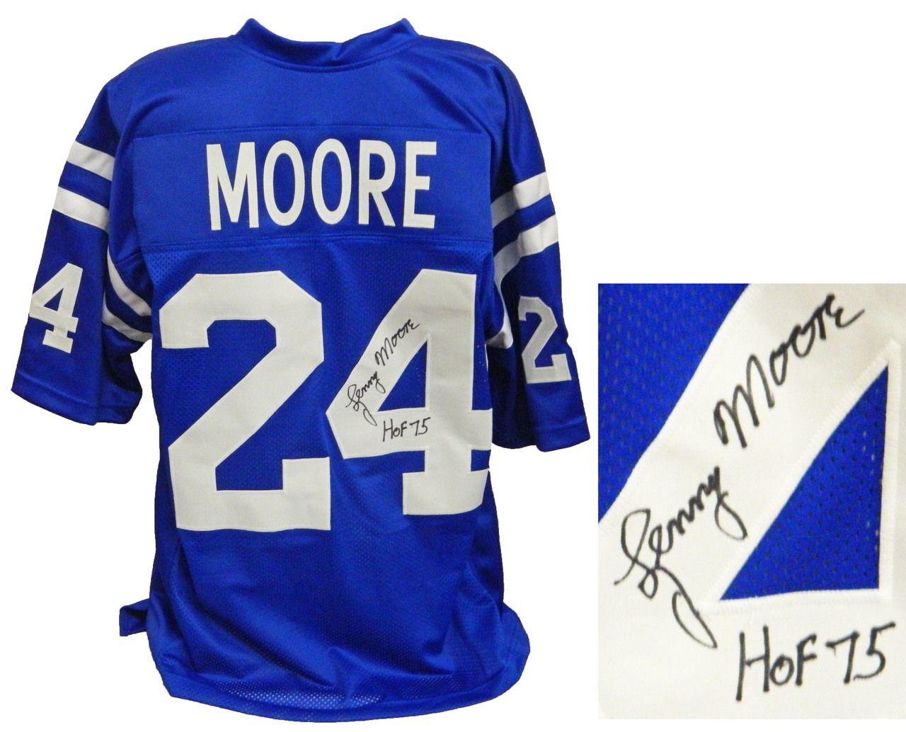 bc5e9b22cf6 ... lenny moore baltimore colts signed blue throwback custom football jersey  w hof 75 schwartz