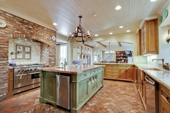 brick floor kitchen island remodel with very similar colors that we re using in our new