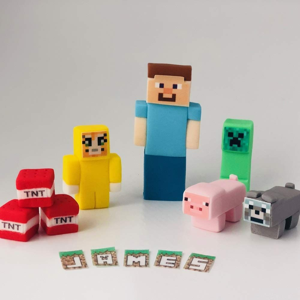 Minecraft Cake Toppers Edible Decorations Unofficial: Amazon.co.uk