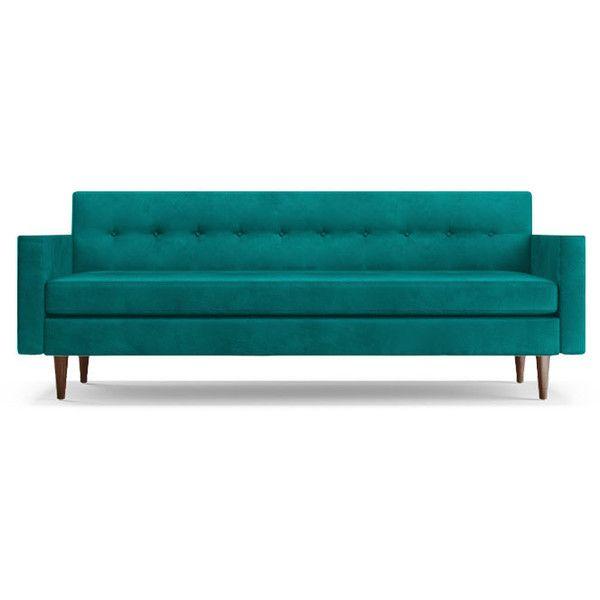 Joybird Korver Mid Century Modern Blue Leather Loveseat 3 014