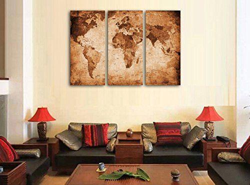 Amazon antique world map canvas prints huge size stretched and amazon antique world map canvas prints huge size stretched and framed gumiabroncs Choice Image
