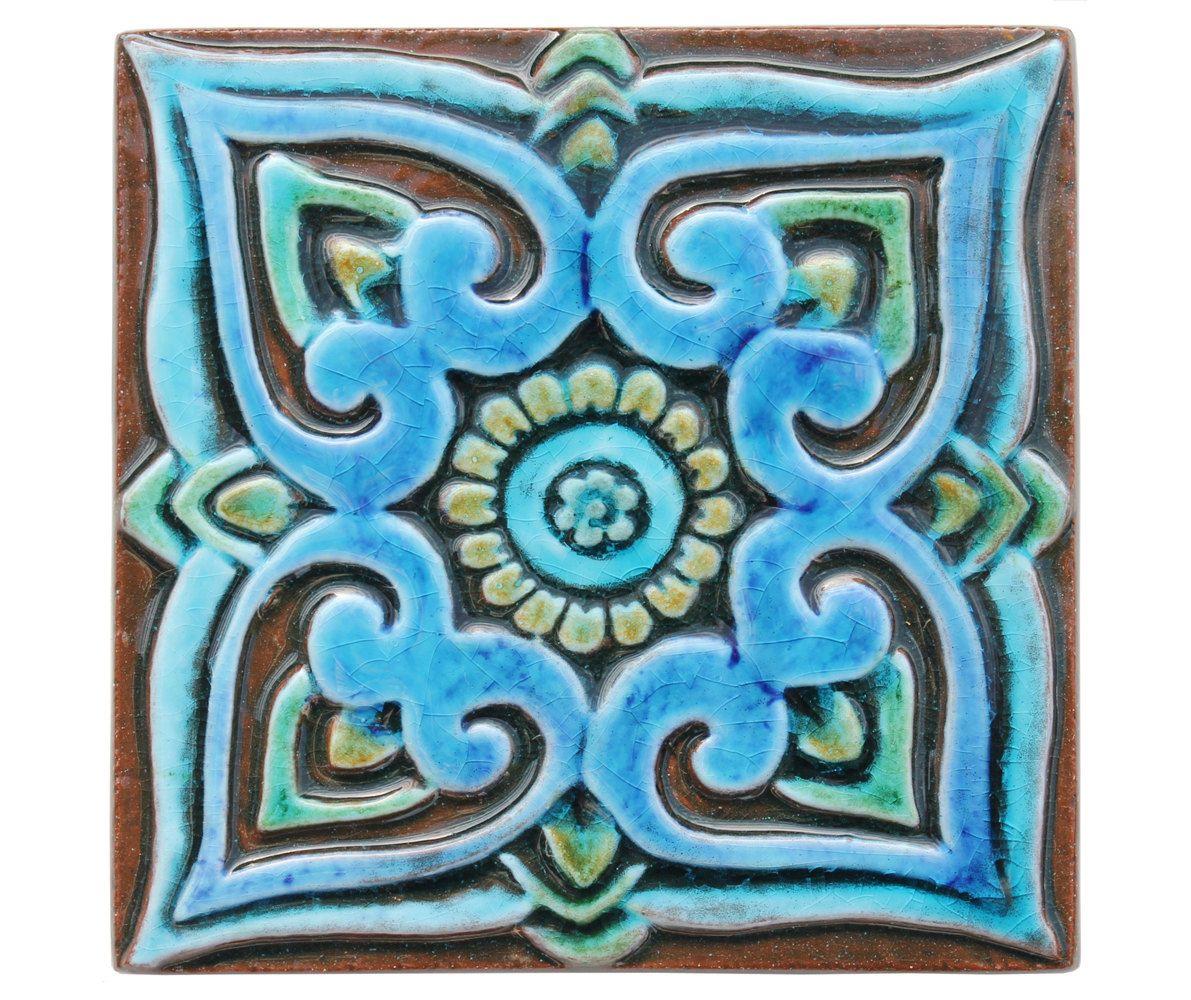 Decorative tile with mandala design // Ceramic tile // Wall tile ...