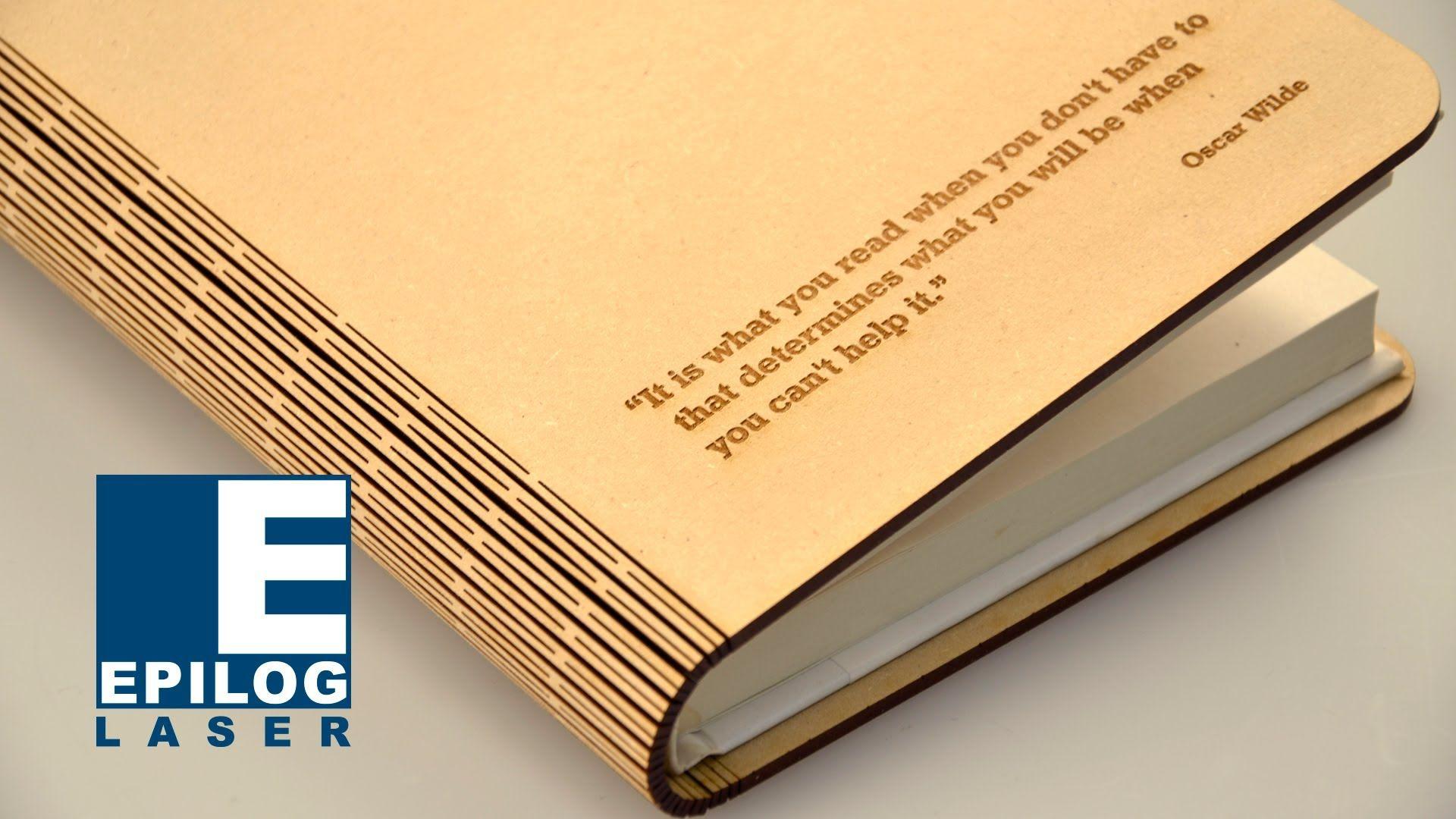 Laser Cut Living Hinge Wood Book Cover Engraving
