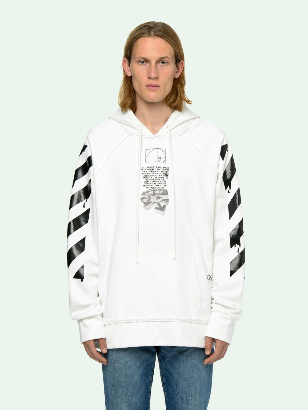 Dripping Arrows Incompiuto Hoodie Off White Long Hoodie Hoodies Hooded Sweatshirts