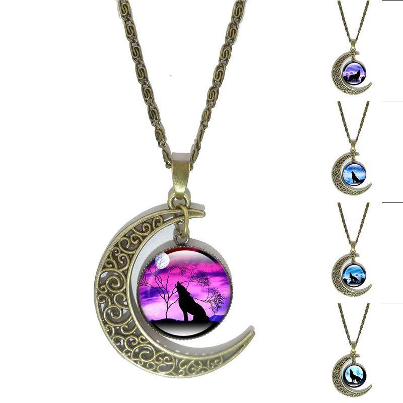 Lobo aullando Luna Arte Collar Cabochon de Cristal Colgante de Joyería de  La Vendimia de Bronce