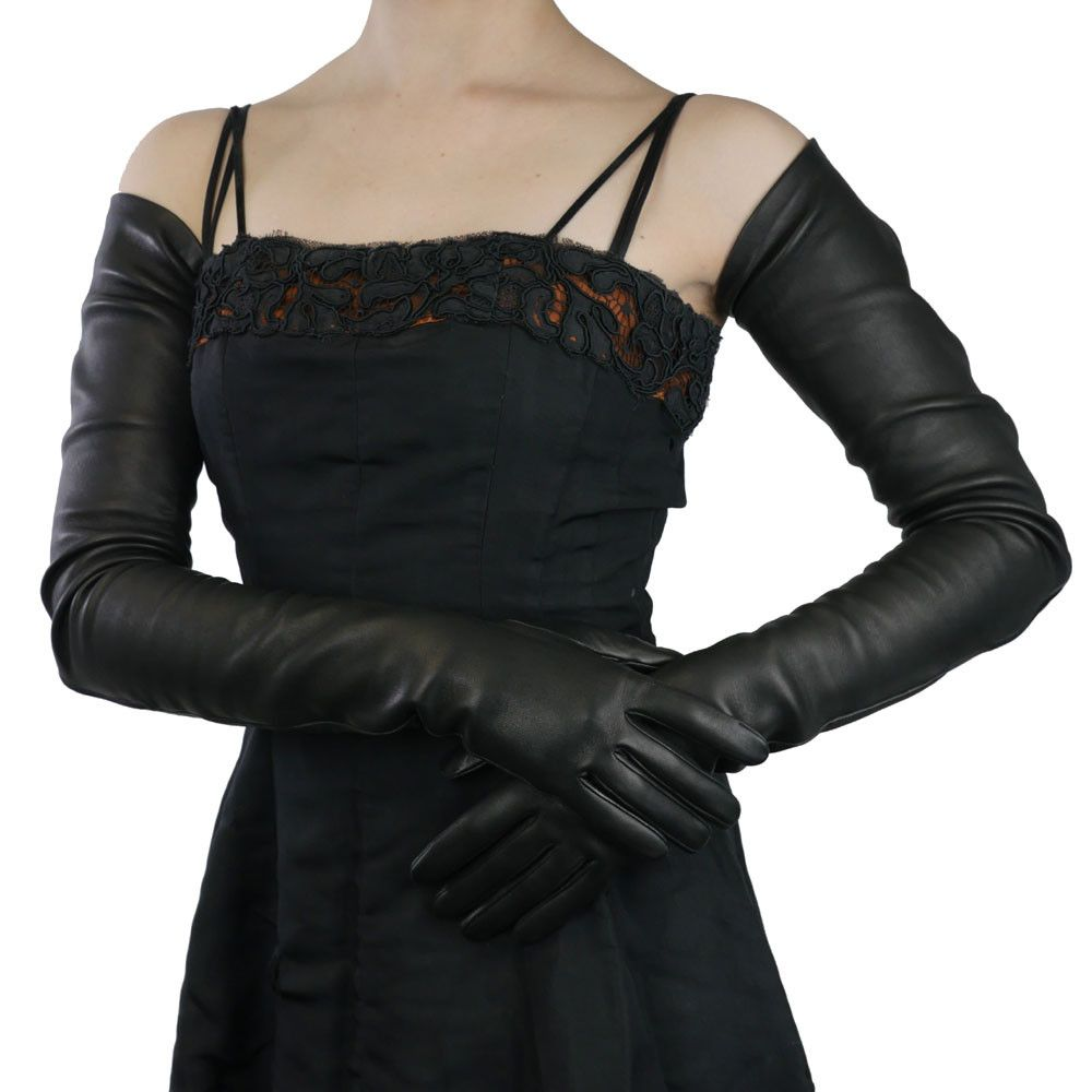 Black leather gloves buttons - Full Arm Length Black Leather Gloves Silk Lined 22 Bt