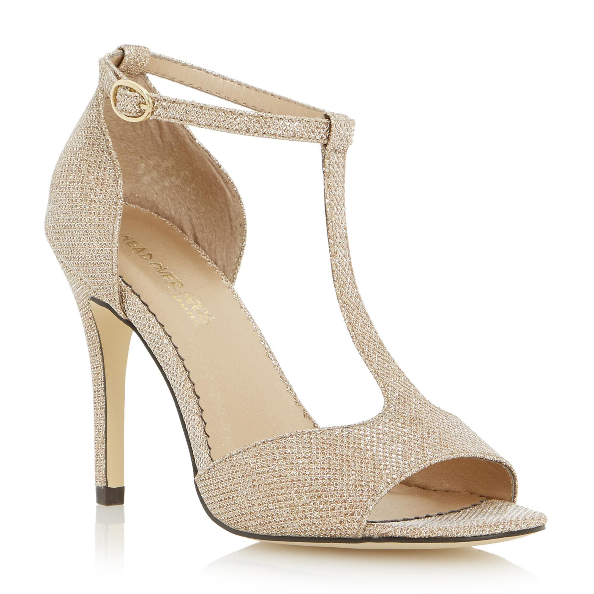 Head Over Heels by Dune Metallic glitter t-bar heeled sandal