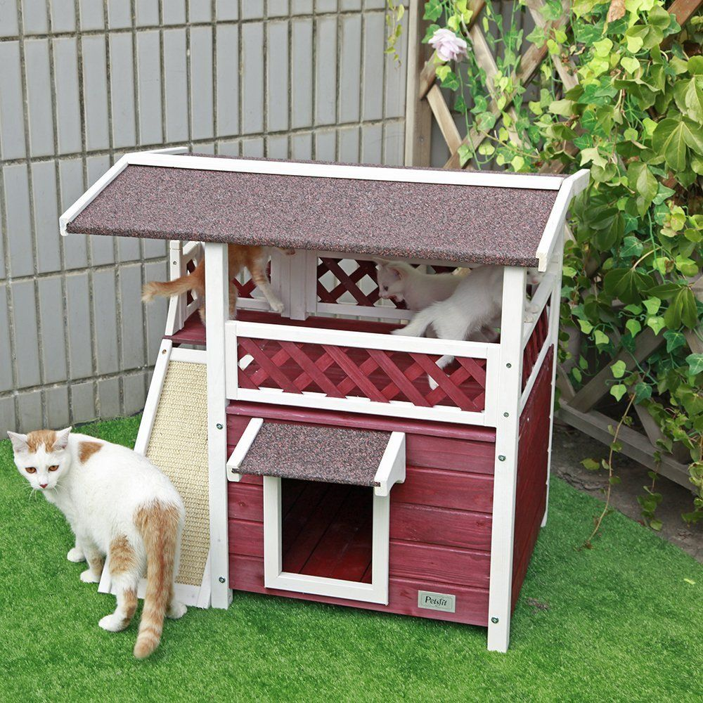Summer Is About To Be Awesome You Can Now Buy This 2 Story Cat House On Amazon Outdoor Cat House Outdoor Cat Shelter Cat Shelter