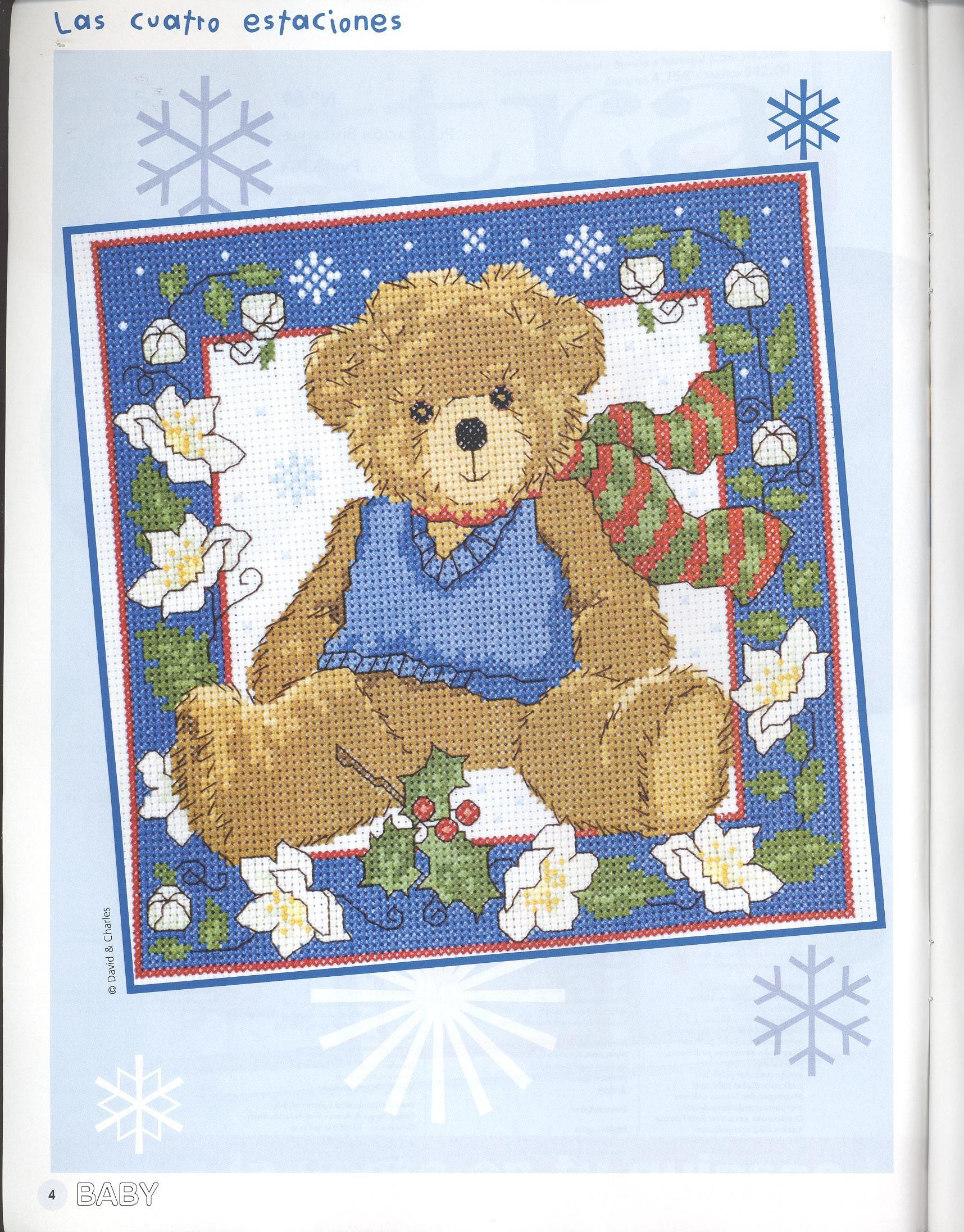 Boy teddy friend to sunny summer bear of cross stitch