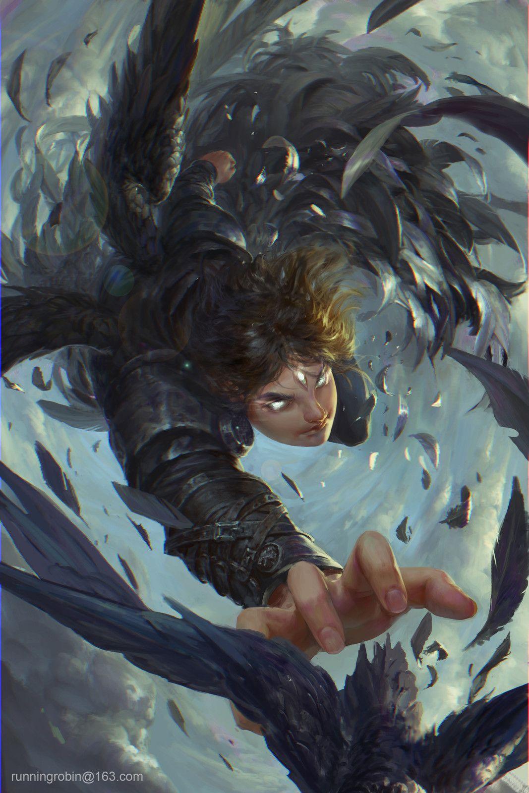 catch the crow, Robin Ruan on ArtStation at https://www.artstation.com/artwork/31WQA