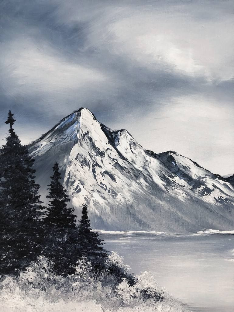 Snowy Mountains Frozen Lakes Painting In 2020 Landscape Drawings Mountain Drawing Original Landscape Painting