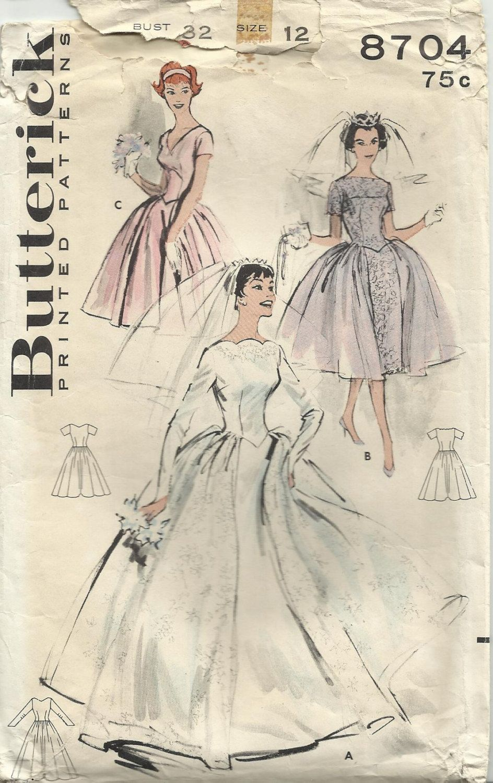 Butterick 8704 gorgeous vintage 1950s bridal wedding for Butterick wedding dress patterns