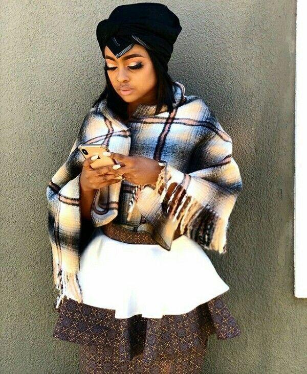 Omuhle Gela In Shweshwe Skirt, Tswana Shawl Top With