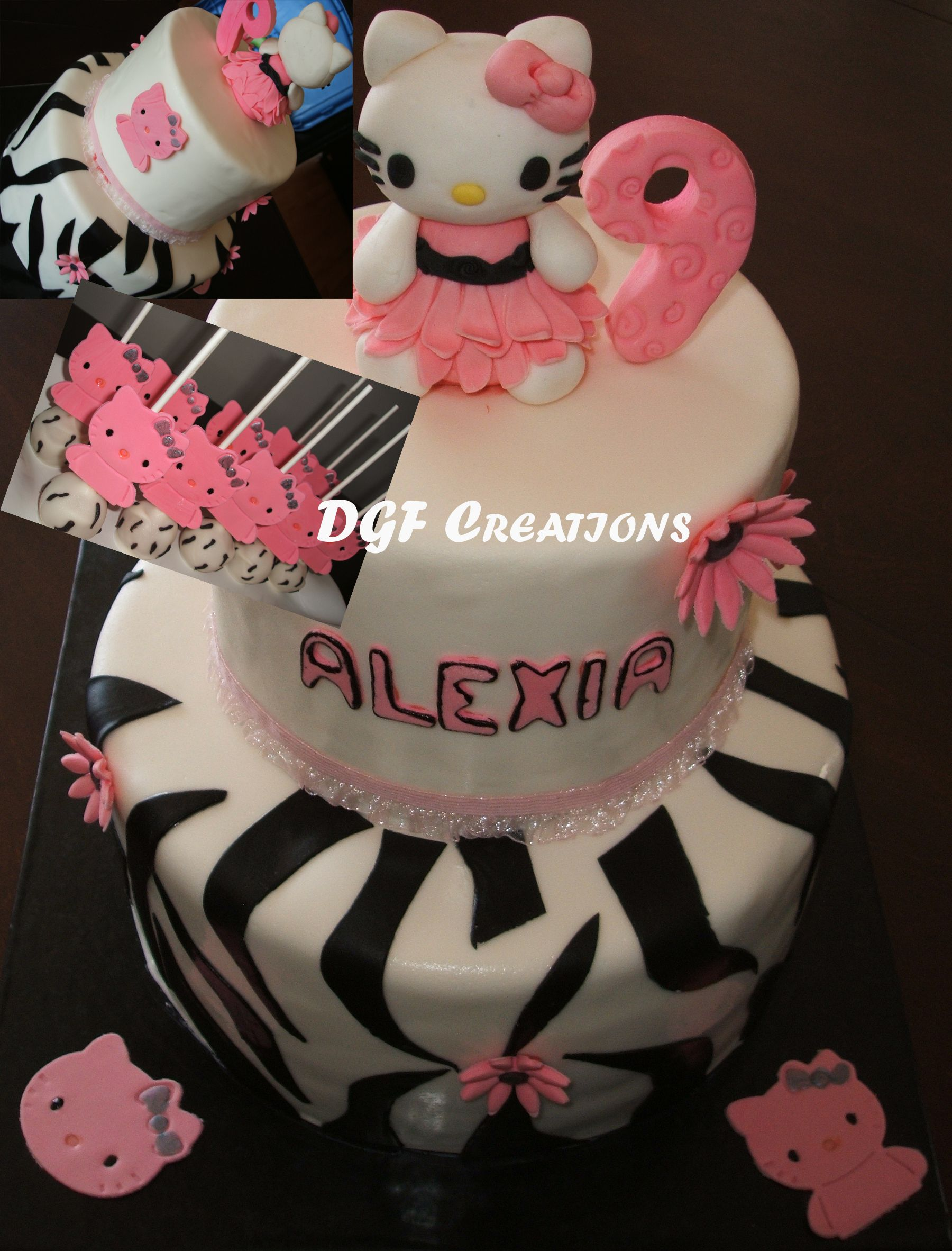 Beautiful 2 Tier Cake With Hello Kitty And Zebra Prints