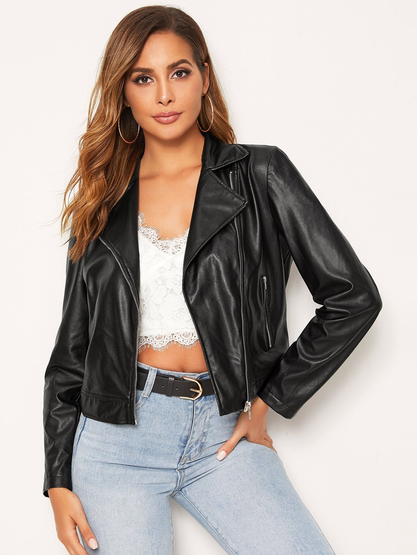 SHEIN Zipper Fly Water PU Leather Jacket Leather jacket