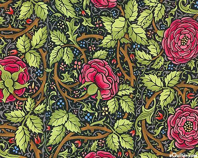 Morris Meadows Kelmscott Rose Black William Morris