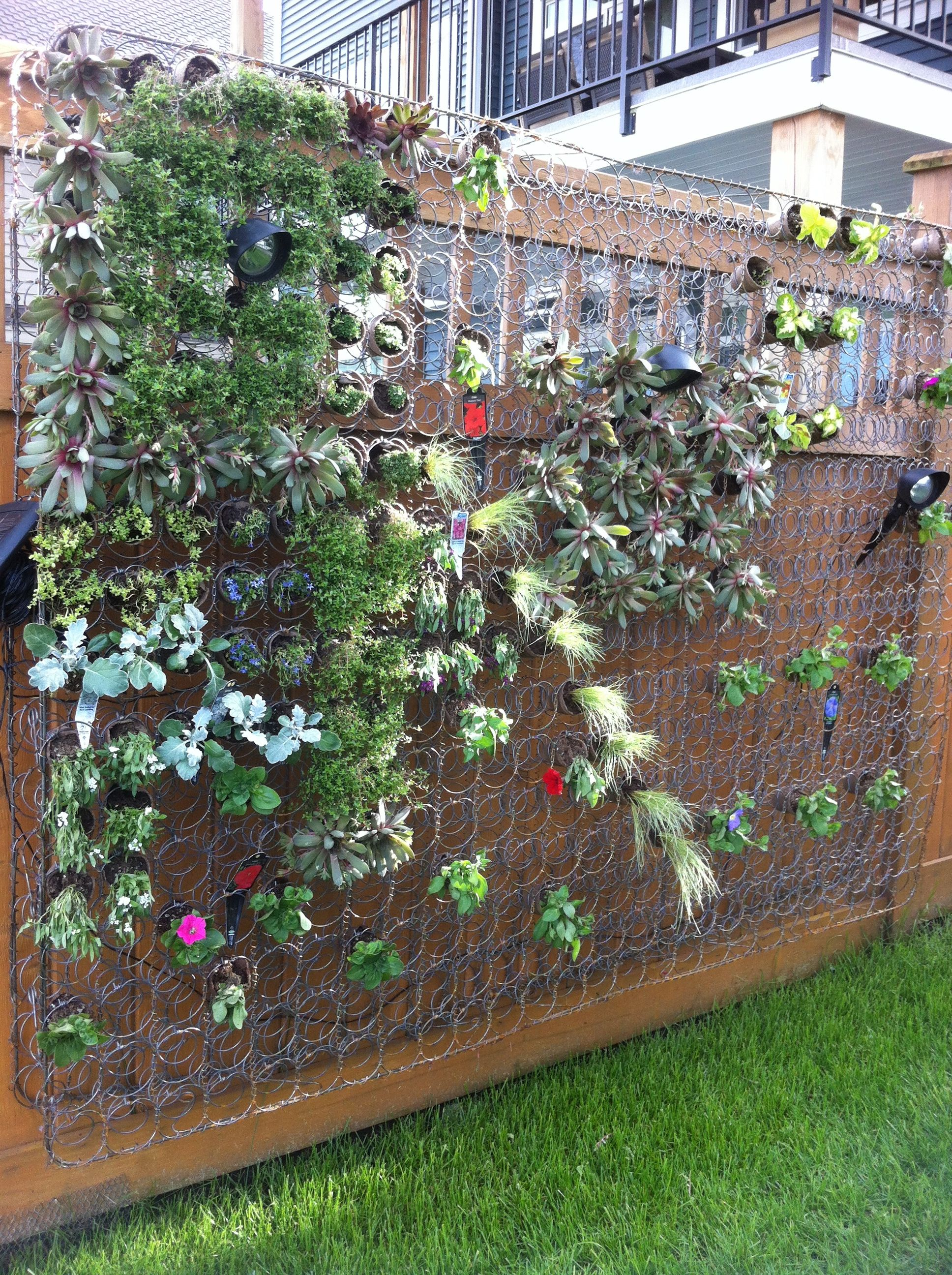 living wall with repurposed box spring i just happen to have a couple of matress springs like. Black Bedroom Furniture Sets. Home Design Ideas