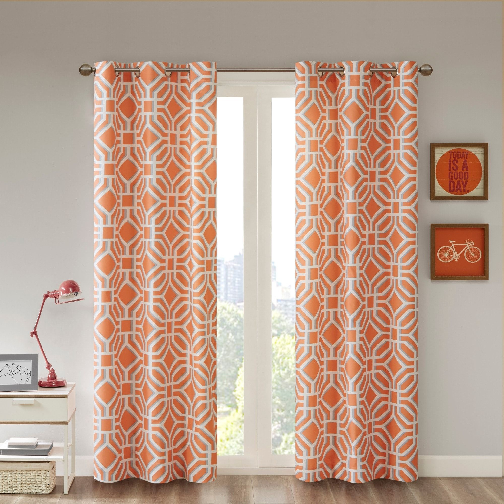 Orange Curtain Panels Intelligent Design Alana Geometric Print Curtain Panel 42x63