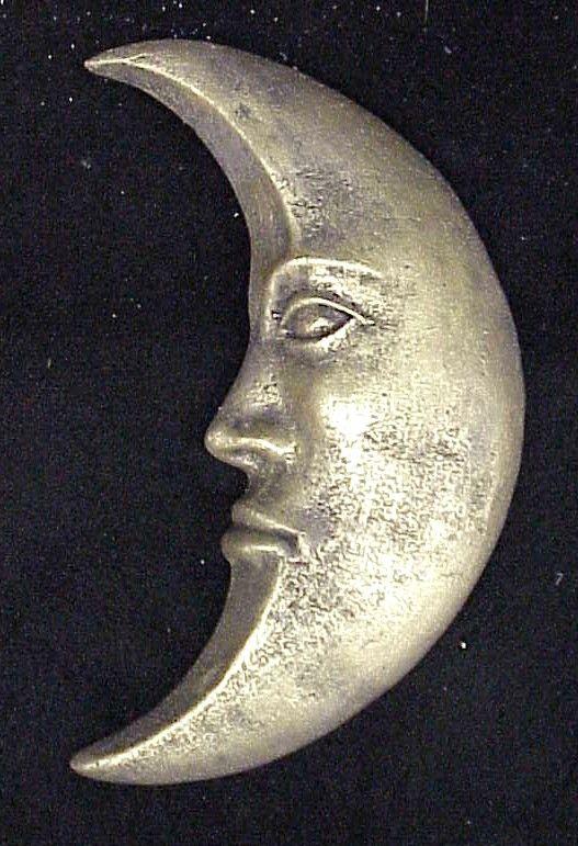 Half Crescent Moon With Face Tattoo: Crescent Moon Wall Decor Sculpture