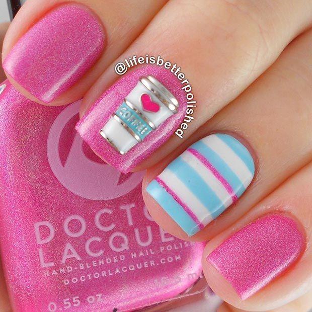 80 Nail Designs for Short Nails   Light blue nail designs, Short ...