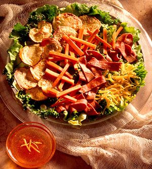 Beef salad with potato crisps recipe from better homes and gardens drizzle chutney vinaigrette for Better homes and gardens potato salad