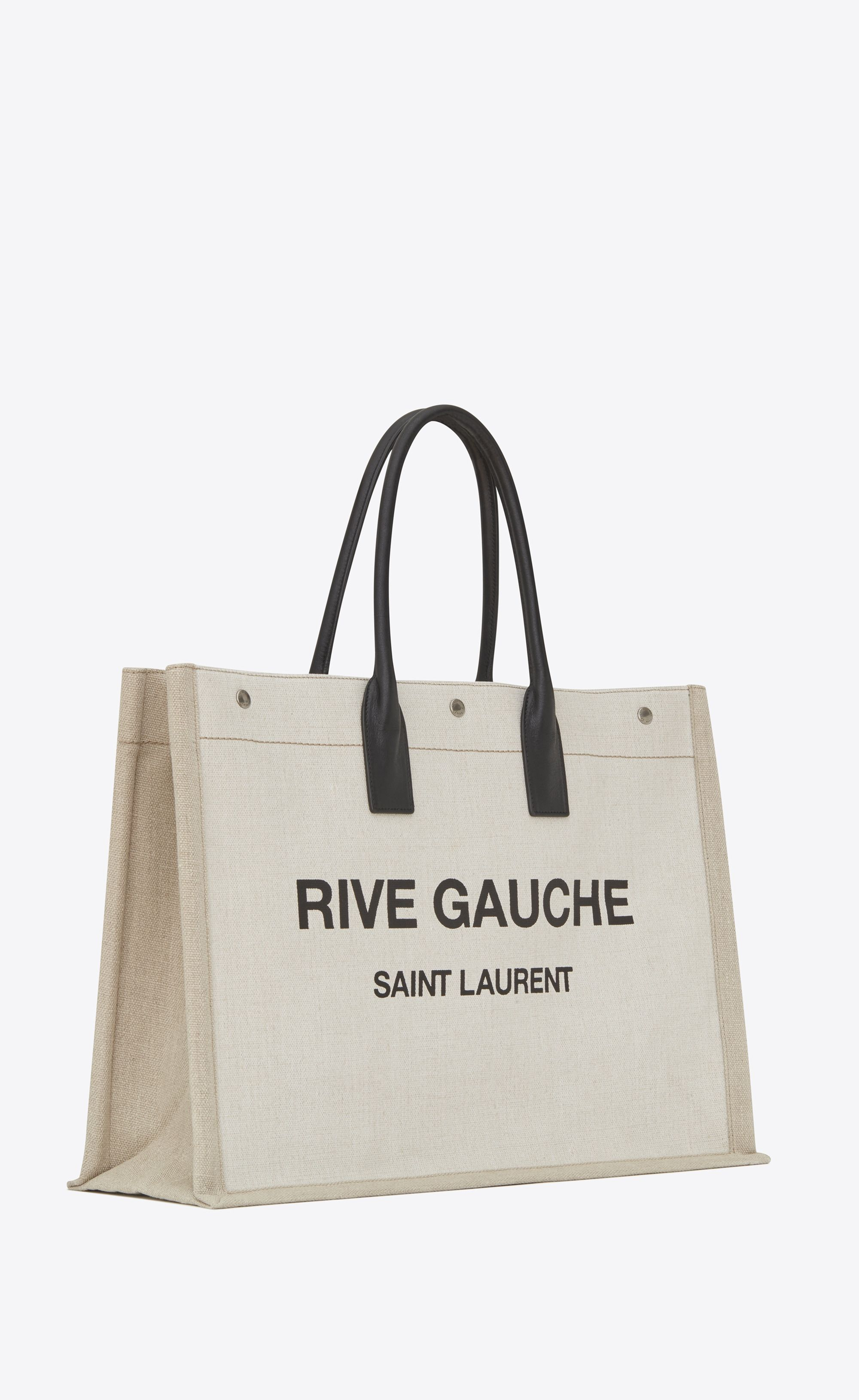 2d64d3f1c3b6 Saint Laurent - Rive Gauche tote bag in white linen and black leather ( 890)