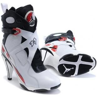 Cheap Women's Nike Air Jordan 8 High Heels Shoes White/Black For Sale