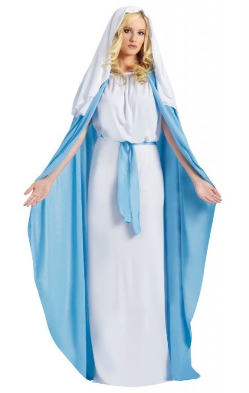 Deluxe Virgin Mary Costume Child Veil Manger Christmas Blue Girl New Medium 8-10