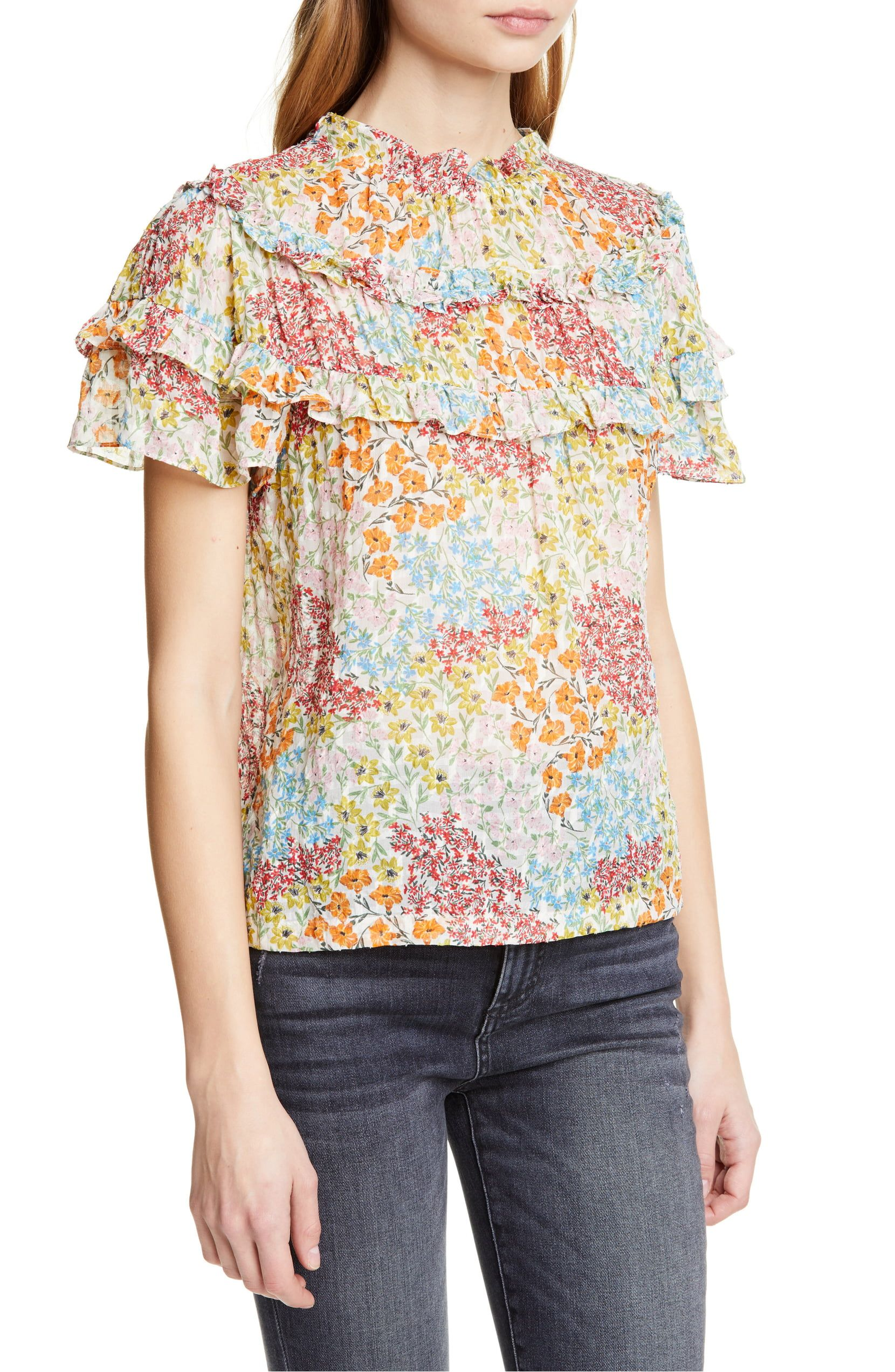 92732d7f6 Rebecca Taylor Ava Floral Ruffle Detail Silk & Cotton Top ...