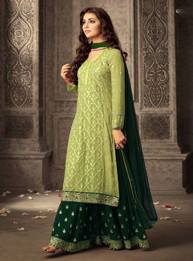 f393207446 Buy Green Faux Georgette Pakistani Style Suit 138437 online at lowest price  from vast collection at m.indianclothstore.c.