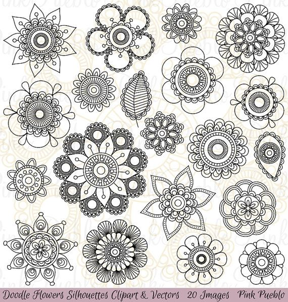 Doodle Flowers Silhouettes Clipart Clip Art, Doodle Flowers Clipart Clip Art Vectors - Commercial and Personal