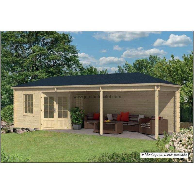 abri de jardin terrasse chalet kit bois avec auvent fermé BERTIL