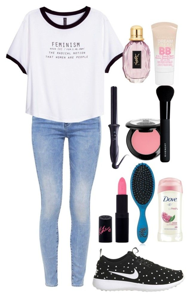 """""""Sport..."""" by sara-benhamida on Polyvore featuring mode, NIKE, G-Star, H&M, Rimmel, The Wet Brush, Dove, Sultra, NYX et Givenchy"""