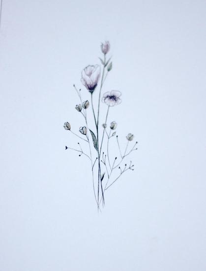Small flower tattoo cute fine line watercolor unique for Small flower designs