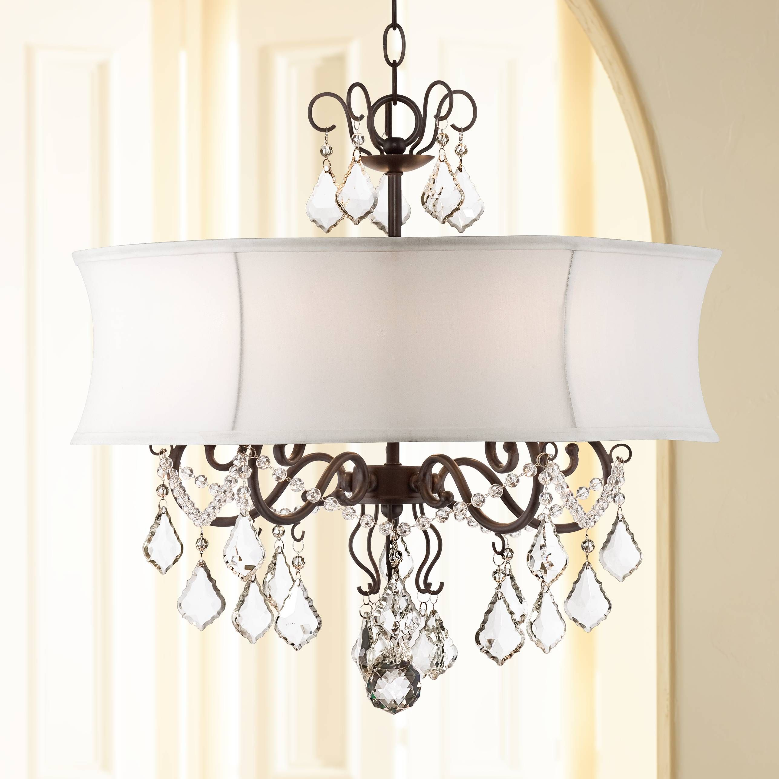 Zula White Shade 22 Wide Crystal Chandelier 2r758 Lamps Plus
