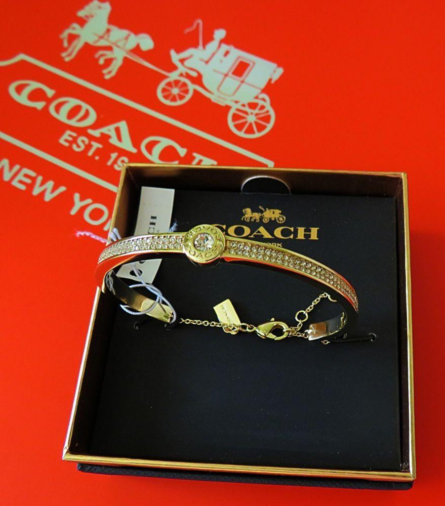 f5749dc2f9a7e Coach Open Circle Pave Bangle/Bracelet Gold F29826 NWT in Gift Box ...