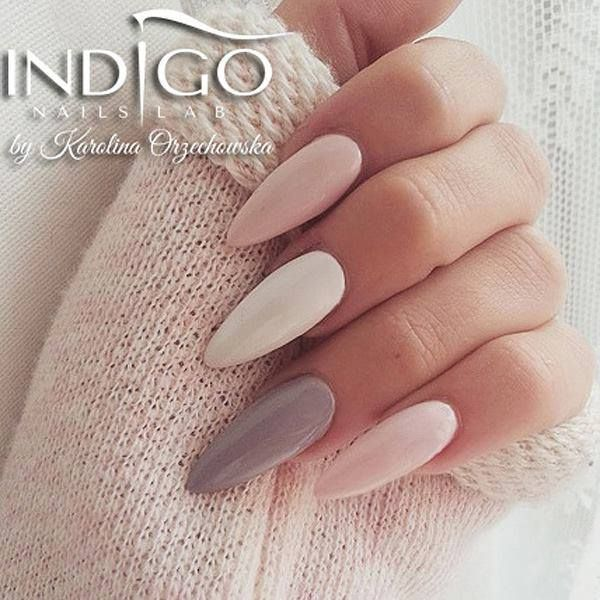 Pink & White & Gray... I hate the pointy shape though. | Nails ...