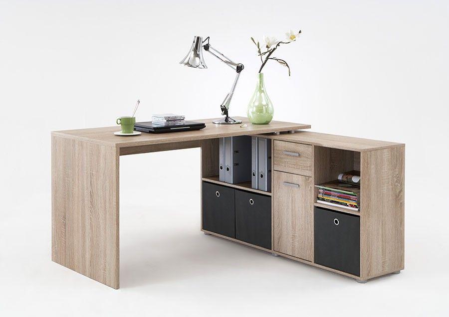 Bureau avec plateau tournant couleur chêne appartement