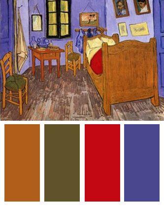 Color Palette Inspired By Vincent Van Goghs Bedroom At