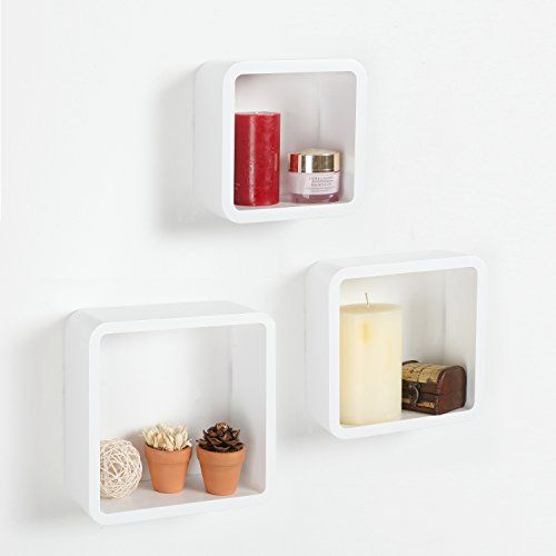 Modern Set Of 3 Wall Mounted White Modular Square Wood Storage Shelves Floating Cube Shaped Box Display