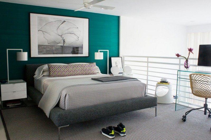 bleu turquoise et gris en 30 id es de peinture et. Black Bedroom Furniture Sets. Home Design Ideas